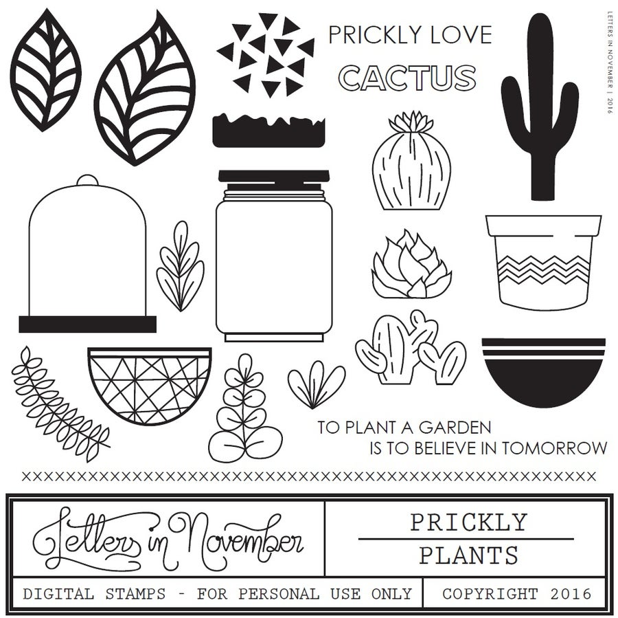 Image of Prickly Plants Digital Stamp