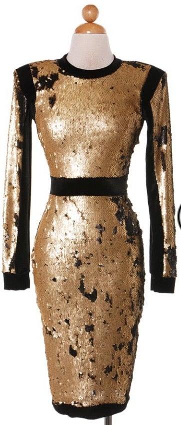Image of Metallic Gold Sequin Front Dress
