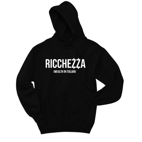 "Image of ""(WEALTH IN ITALIAN)"" Pullover Hooded Sweatshirt (Black/White)"