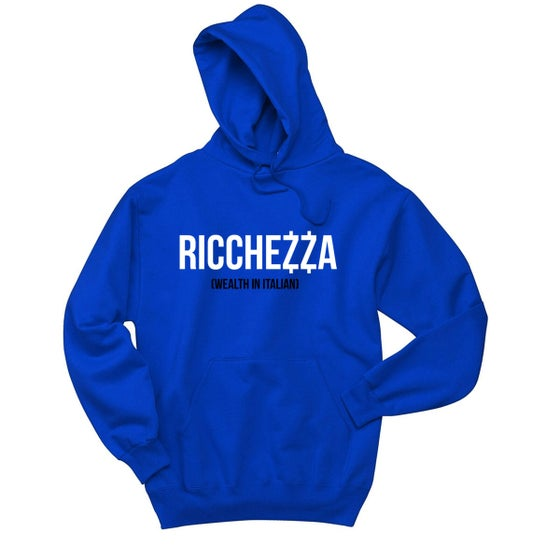 "Image of ""(WEALTH IN ITALIAN)"" Pullover Hooded Sweatshirt (Royal/White/Black)"