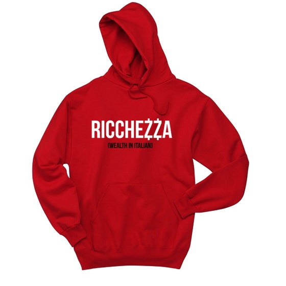 "Image of ""(WEALTH IN ITALIAN)"" Pullover Hooded Sweatshirt (Red/White/Black)"