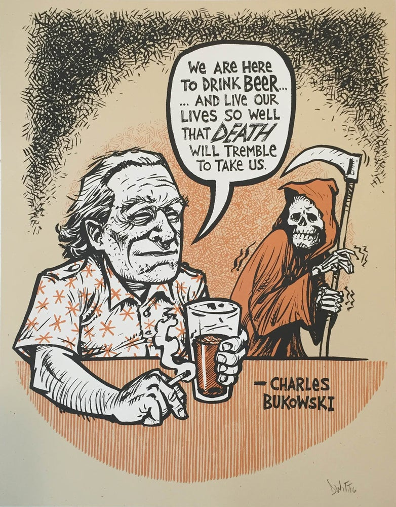 Image of Charles Bukowski beer quote