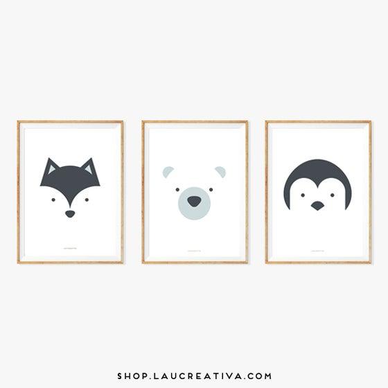 Image of Lámina ·Zorro, Oso y Pingüino·