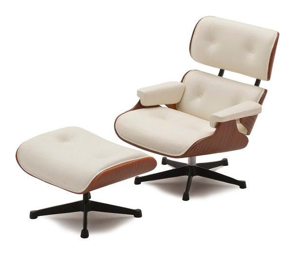 Image of Modern Design Lounge Chair & Ottoman 1/12 Miniature - 1 Set of 2 Pcs - White
