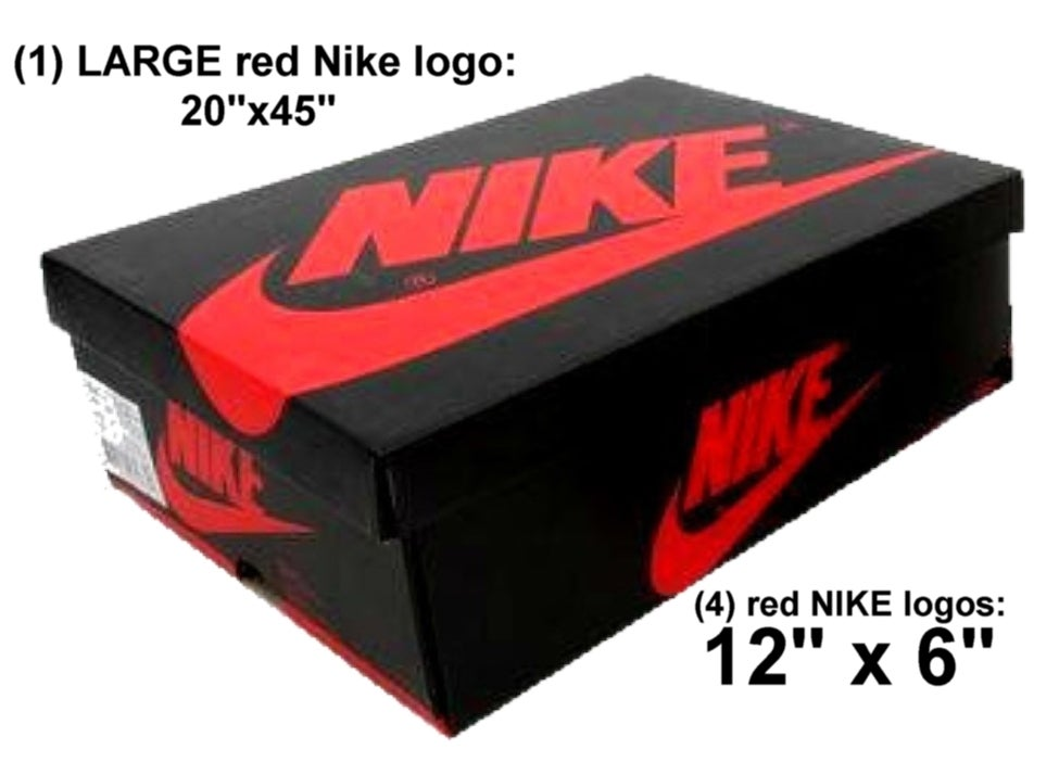 ... Image Of (5) LARGE Red Nike Logos (for Custom AJ1 Black/red ...