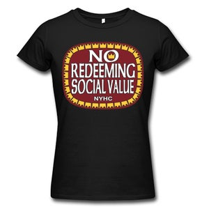 "Image of NO REDEEMING SOCIAL VALUE ""Olde E"" Logo Girlie Shirt"