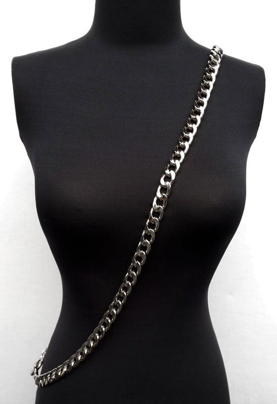 """Image of NICKEL Chain Luxury Strap - Large Flat Diamond Cut - 9/16"""" (15mm) Wide - Choose Length & Clasps"""