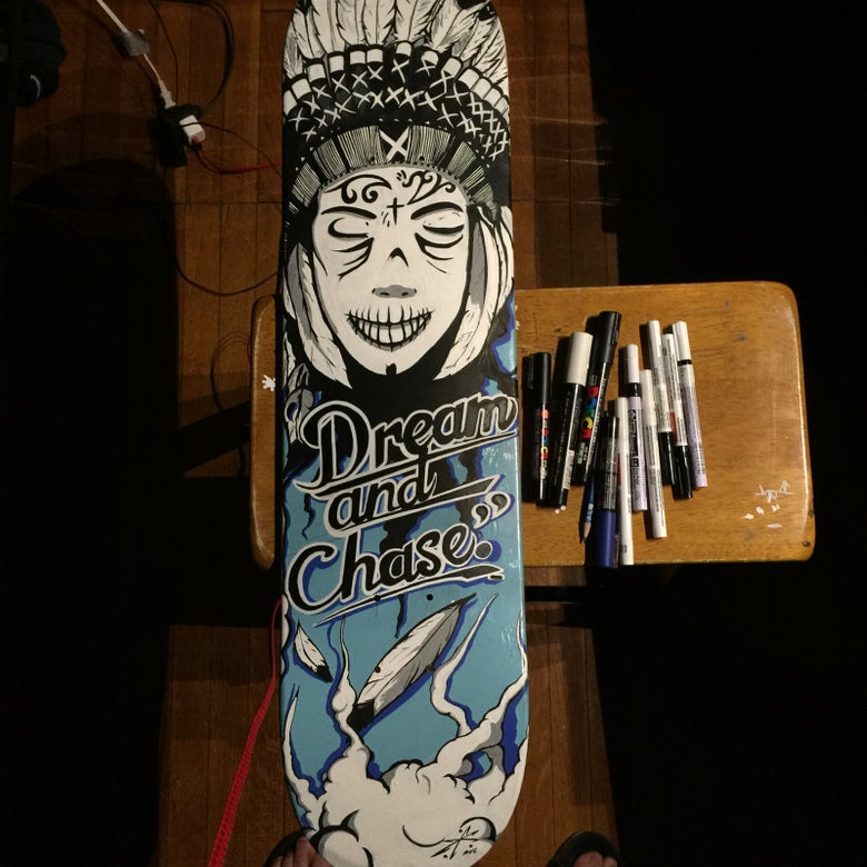 """Image of """"Dream and Chase"""" Skateboard deck"""