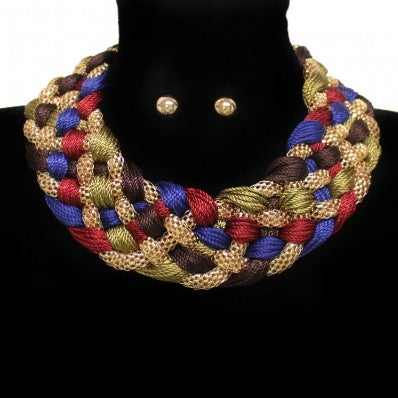 Image of Braided Woven Embroidery Chain Necklace Set