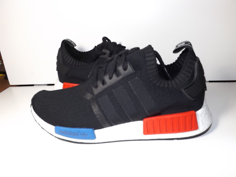 Image of Adidas NMD Nomad Runner Primeknit Boost Black Red Blue S79168 SIZE 7.5