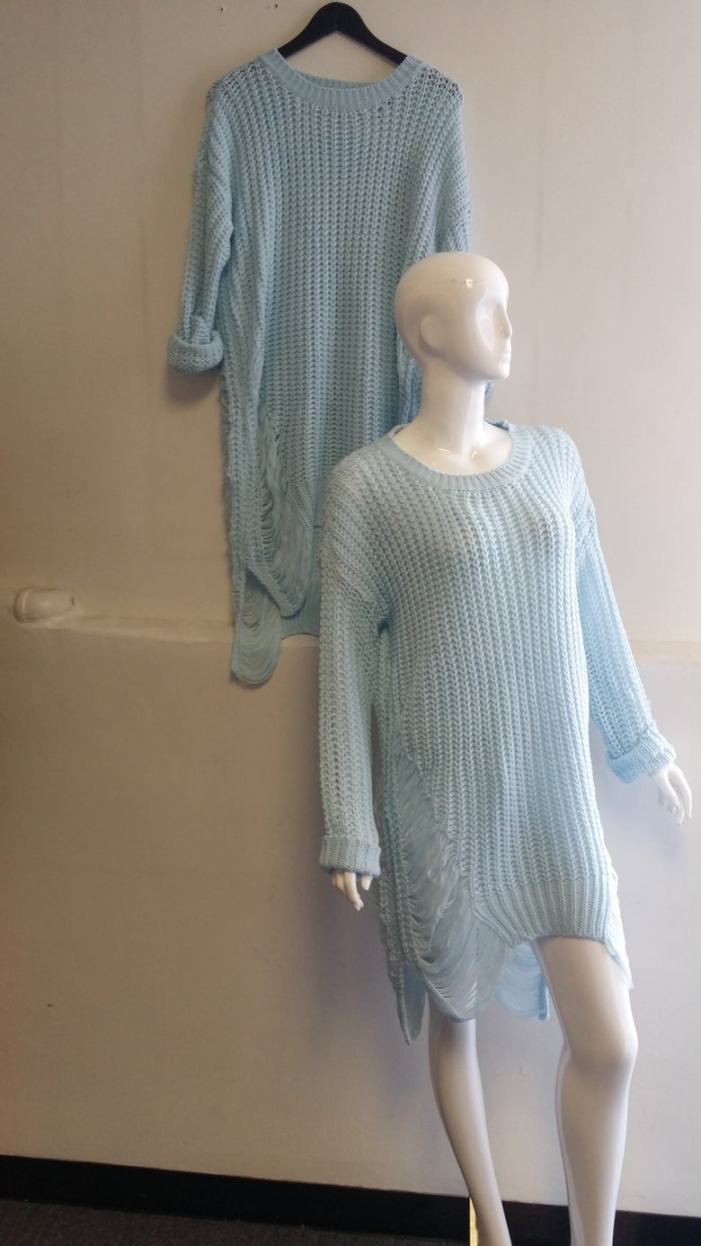Image of Sky Blue Distressed Sweater