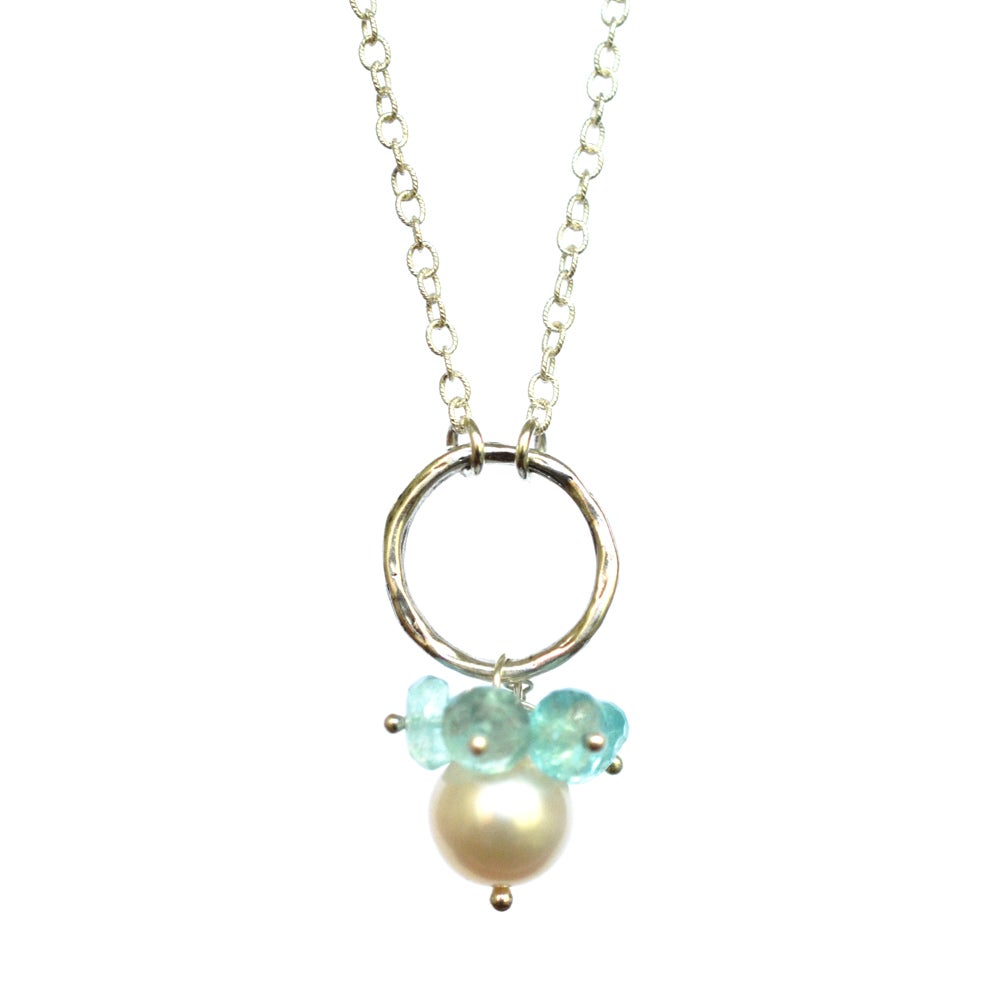 Image of Cultured freshwater pearl circle necklace with aqua rainbow moonstone sterling silver