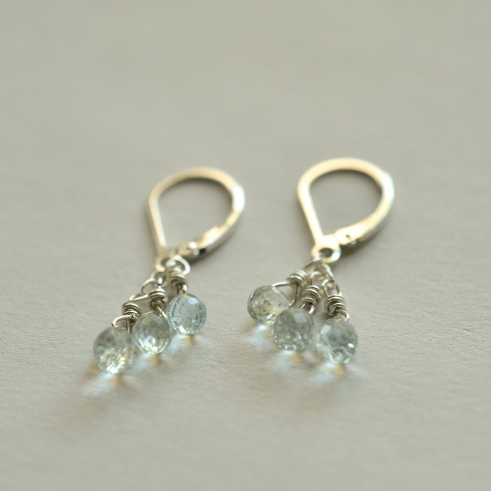 Image of Pale blue aquamarine earrings sterling silver leverback