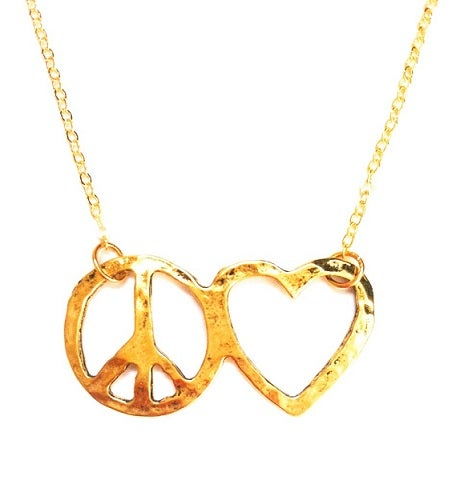 Image of Vintage style coin heart peace necklace