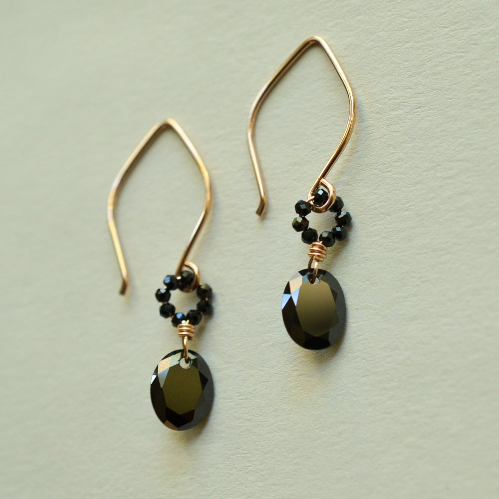 Image of Black oval cubic zirconia rose gold-filled earrings