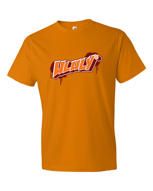 Image of ULULY T-Shirt -#108061741 (T-Shirt has the ULULY brand logo big on the front of shirt)