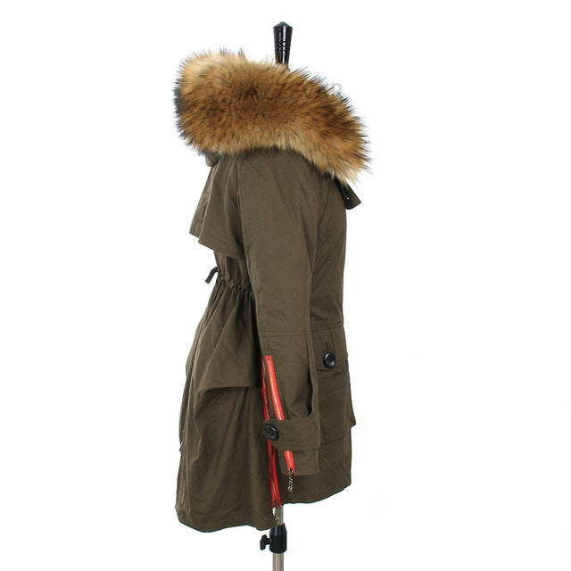 Army Parka Jacket with Real Fur Hood Red Zipper Detail / OhSewN2U