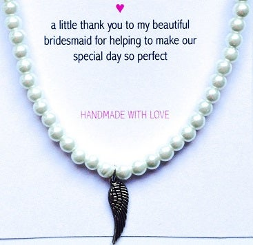 Image of Bridesmaid Pearl Bracelet -  Angel Wing Charm