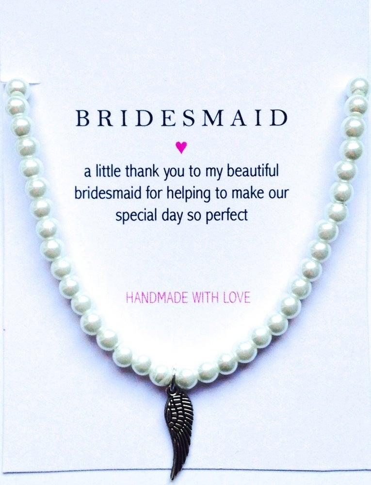 Image of Bridesmaid Pearl Bracelet -  Angel Wing Charm