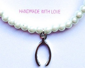 """Image of """"Will You Be My Bridesmaid"""" Pearl Bracelet -  Wishbone Charm"""