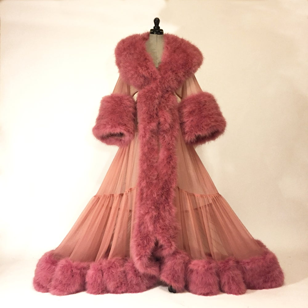 "Image of ""Dominique"" Ultra-Plush Marabou Sheer Dressing Gown"