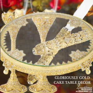 Image of Bliss Gloriously Gold Flutes & Cake Set Display
