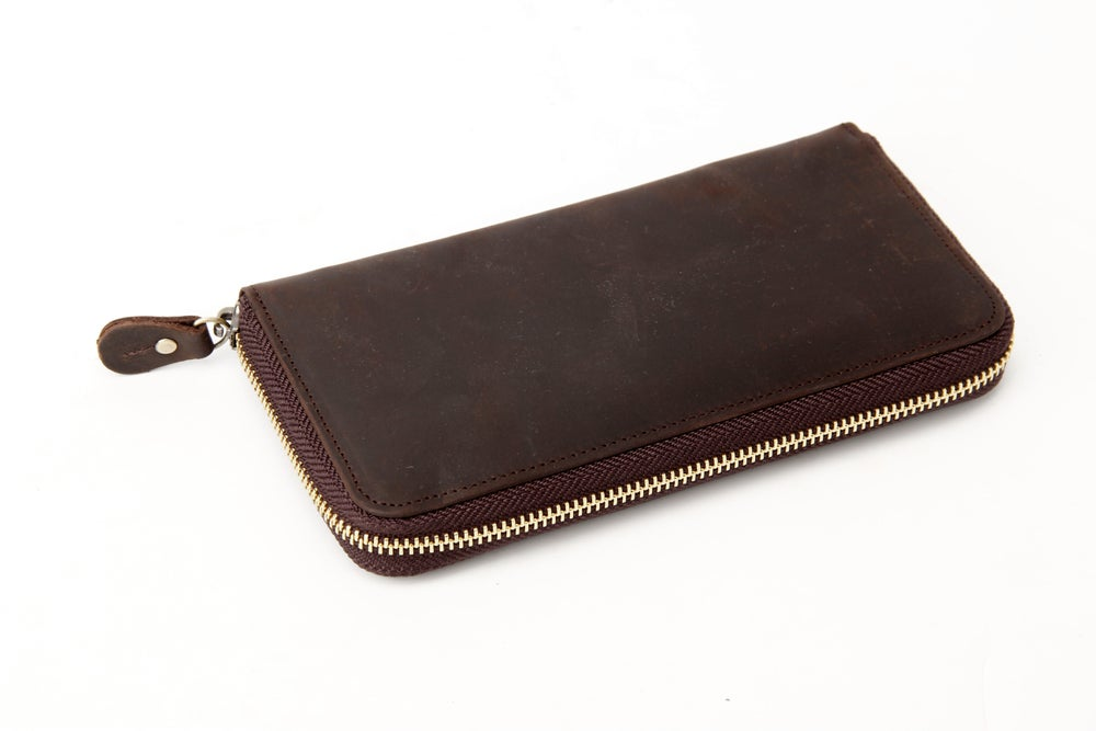 Image of Handmade Custom Wholesale Genuine Leather Wallet Men Long Wallet Money Purse Card Holders B-200