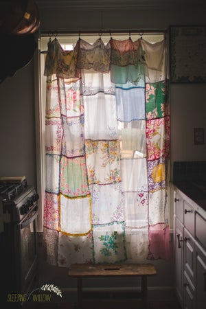 Image of Custom Vintage Hankie Curtain Listing