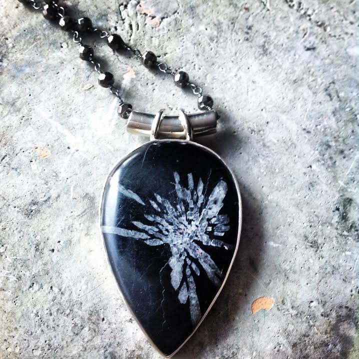 "Image of ""Embrace your Authentic Purpose"" ~ Chrysanthemum Sterling Silver on Black Pyrite Chain  reaction"