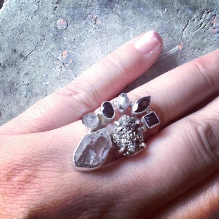 Image of Herkimer Diamond, Peruvian Golden Pyrite, Black Onyx & Smokey Topaz Sterling Silver