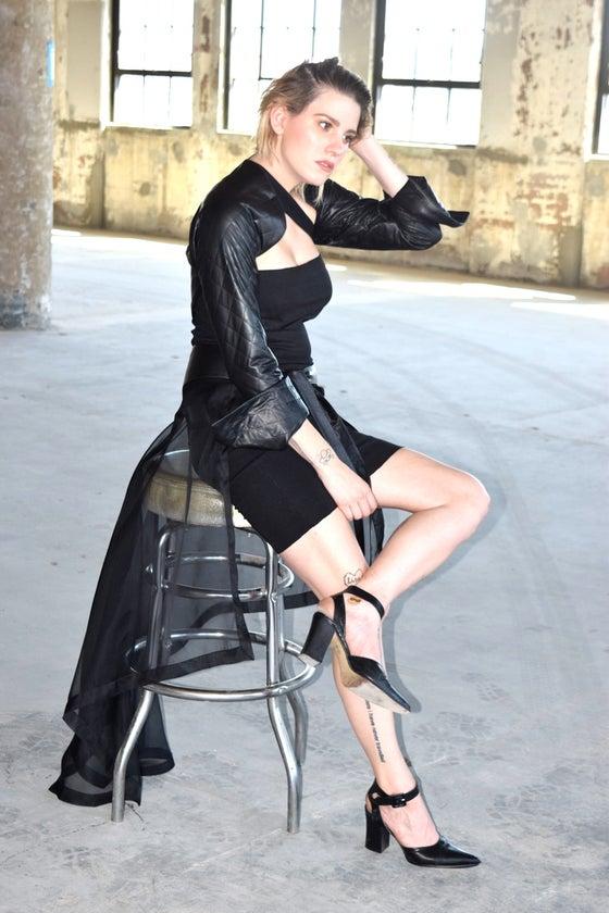 Image of Kasia Kulenty - Organza Leather Fin Draped Back Belt Skirt