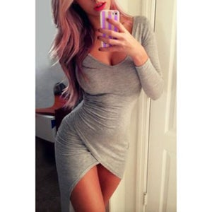 Image of FASHION GREY IRREGULAR DRESS
