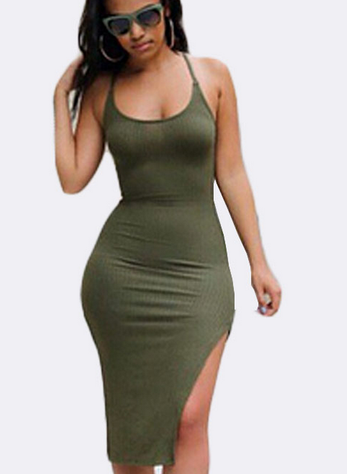 Image of FASHION GREEN CROSS DRESS