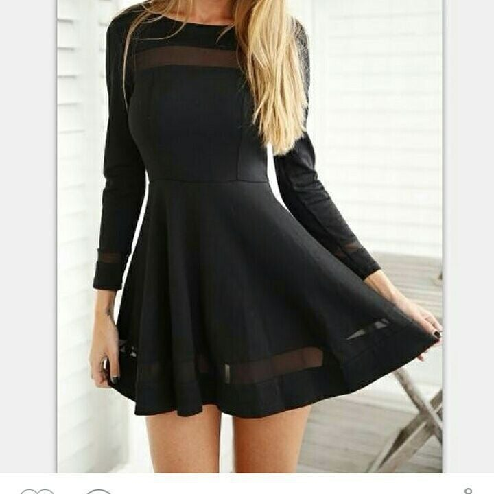 Image of CUTE LONG SLEEVE NET SHOW BODY SEXY FRESH DRESS