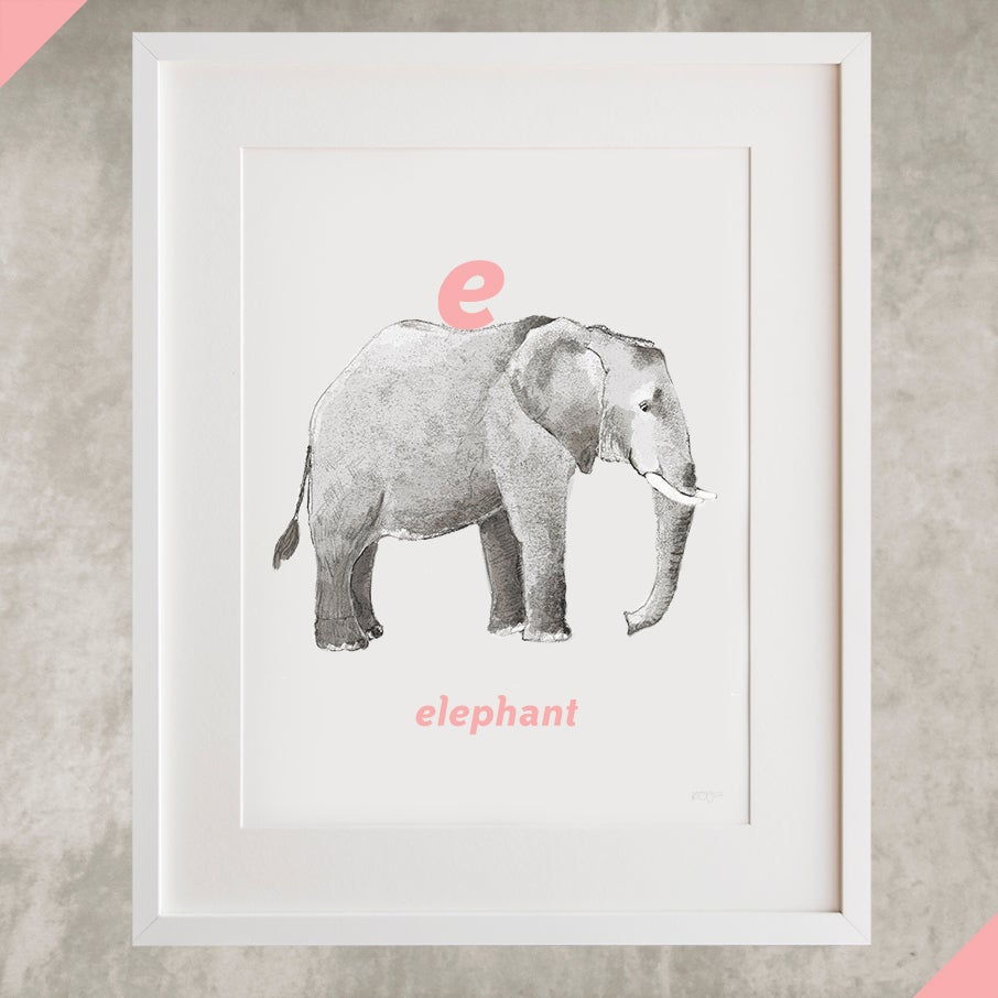 Image of E - Elephant Letter Print