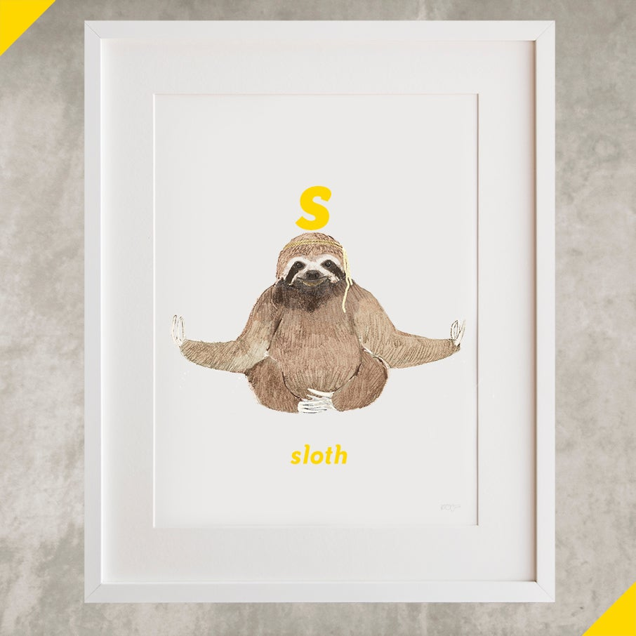 Image of S - Sloth Letter Print