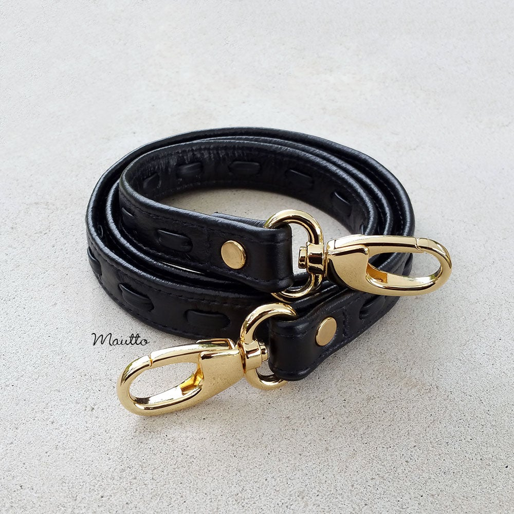 "Image of Black Leather Strap with Leather Weave Accent - .75"" Wide - Choose Hook Finish & Style"