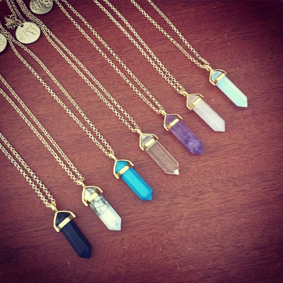 Image of Gold crystal point necklace