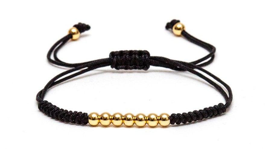 Image of ZENGER 18kt Black/Gold/White gold Plated Beads Macrame