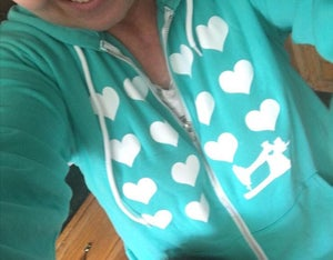 Image of Teal I Heart Sewing Zip Hoodie Sweatshirt
