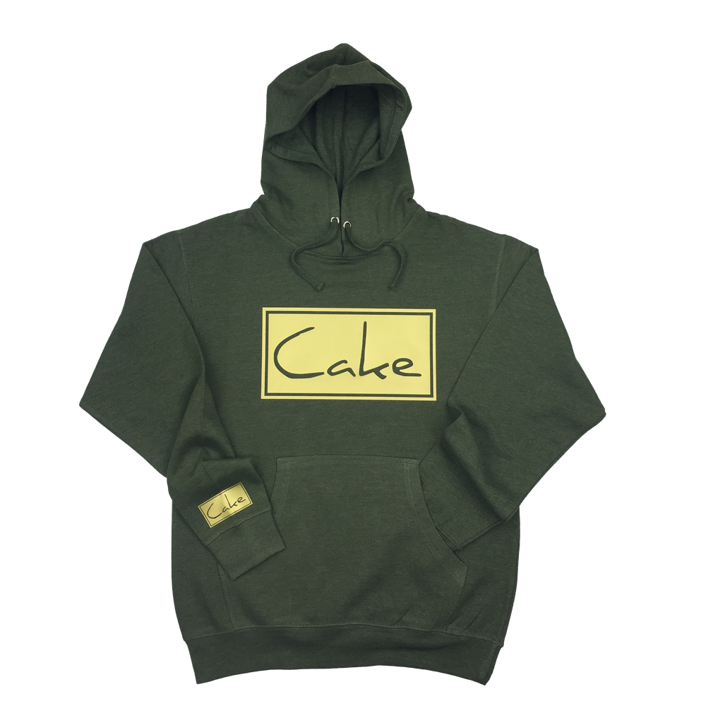 Image of Cake Pullover Hooded Sweatshirt Army Green/Gold