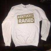 Image of KY Raised Crewneck Sweatshirt in White & Gold