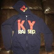 Image of KY Raised Zip Hooded Sweatshirt in Navy / Red / Gold