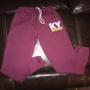 Image of KY Raised Maroon / White / Gold Closed Bottom Sweatpants