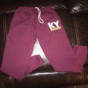 Image of KY Raised Maroon / White / Gold Closed Bottom Sweatpants