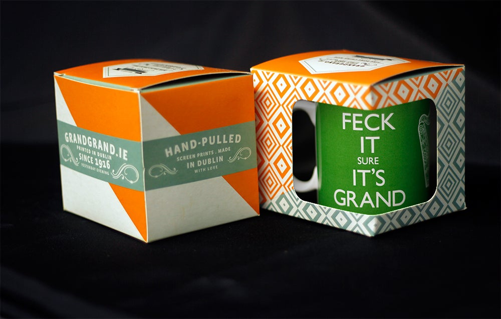 Image of FECK IT SURE IT'S GRAND. China mug