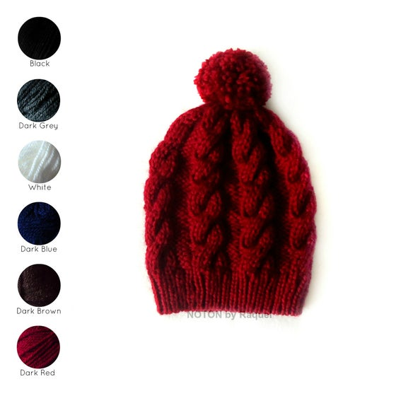 Image of Cable Knit Pom Pom Beanie