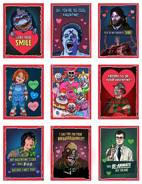 Image of 80's Horror Valentine's Day Card Pack (2016) (More Coming Soon!)
