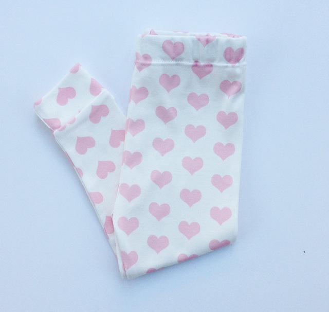 Image of ORGANIC COTTON Petal Pink Signature HEART CUFFED LEGGINGS