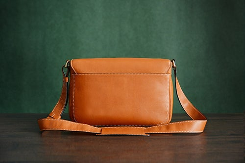 Image of Custom Handmade Vegetable Tanned Italian Leather Messenger Satchel Bag Crossbody Shoulder Bag D042